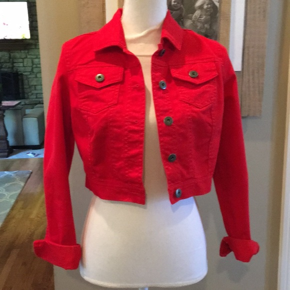 Mossimo Supply Co. Jackets & Blazers - Cropped Red Jean Jacket